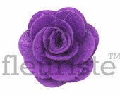 "PURPLE 2"" Felt Fabric Flower, Chiffon Flower with pearl, Wholesale Flower, Felt Flower, Headband Flower, Fabric Flower, DIY Flower, 3 Pcs"