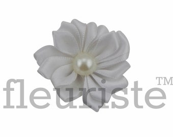 WHITE Ribbon Flower With Pearl, Satin flower, Fabric rose, Rolled Rosette, Wholesale Flower, Fabric Flower, Satin Flower, 3pc