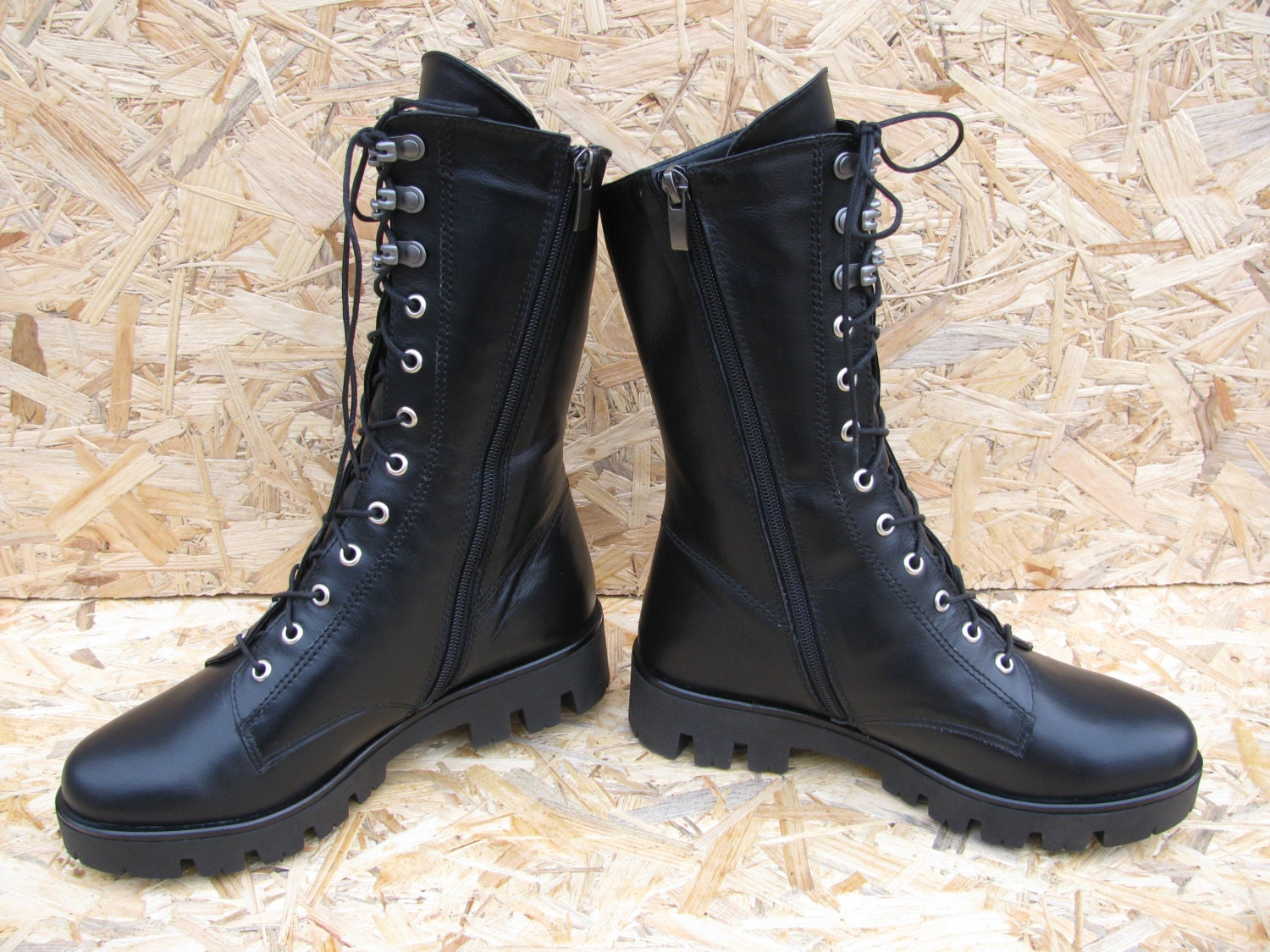 Brilliant Black Leather Combat Boots Mens 85 Womens 105 Police Boots Work