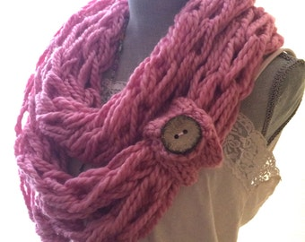 Infinity Scarf, Pink Infinity Scarf, Knit Scarf, Spring Scarf, Circle Scarf, Womens Scarf, Cowl, Winter Scarf, Arm Knit, Lightweight Scarf