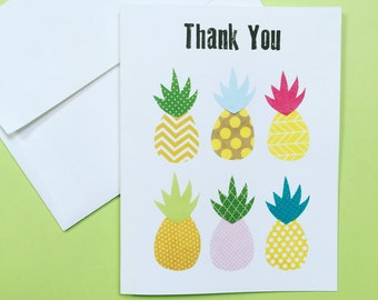 Pineapple Thank You Notecards, Set of 10 Notecards & Envelopes