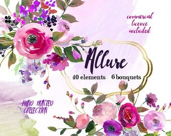 Purple Watercolor Flowers Clipart Set Wedding Floral Bouquets Purple Green Red Peony Roses Clip Art Digital Floral Elements DIY Invitation
