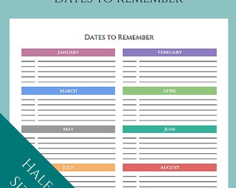 """Dates to Remember: Birthday and Anniversary Tracker - Color or B&W - Half Page / A5 / 5.5"""" x 8.5"""""""