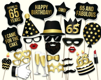 65th birthday photo booth props: printable PDF. Black and gold Sixty fifth birthday party supplies. Instant download Mustache, lips, glasses
