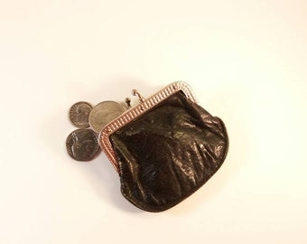 Vintage Black Leather Coin Purse - **FREE SHIPPING**