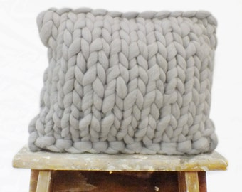 "Chunky Merino Cushion (15""x15"") - Grey"