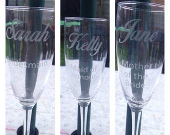 Personalised 3 xWedding champagne flutes