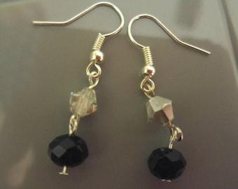 Black and Silver Dangle Earrings
