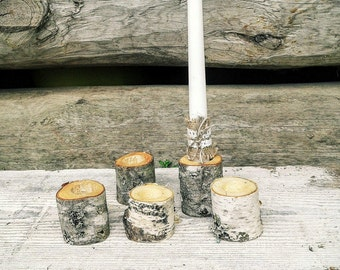 10 Rustic Decorative Birch Candle Holders, Natural Birch Wood Wedding Candle Holders, Rustic Wedding Candle Holder