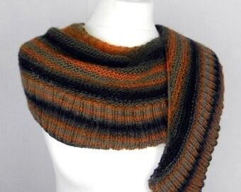 SHAWL SCHULTERUCH KNITTING cloth scarf shawl hand-knitted wool Brown ochre