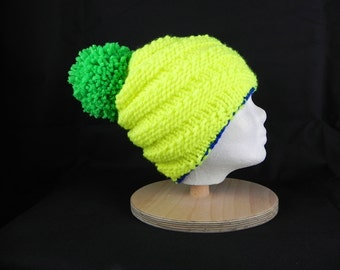 Kids BOBBLE Hat * Cap * neon color * spiral patterns * wool * handmade