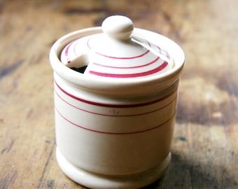 Iro-Tan Ware Iroquois China Mustard Condiment Jar With Lid  Tan With Burgandy Stripes