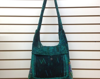 Artisan Hippie Boho Gypsy Cross Body Messenger Shoulder Bag Handmade in Guatemala GREEN