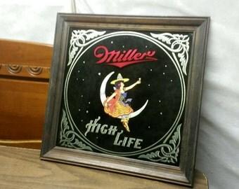 "vintage 1980 miller high life beer mirror with wood frame 19""x 19"""