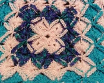 Pink and blue crocheted blanket, throw blanket, afghan