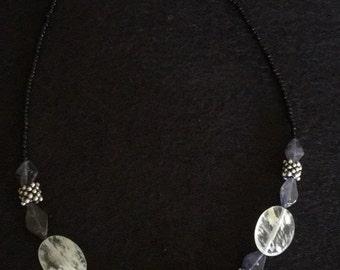 Quartz, Smokey Quartz, and Sterling Silver Necklace
