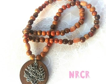 Tree of life Necklace. Handmade. Pendant. wood handbeaded.