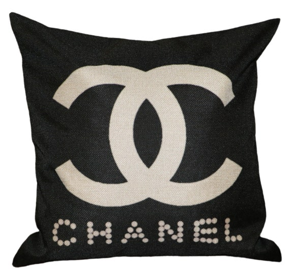 Black Chanel Throw Pillow : Chanel Inspired Pillow Cover Decorative Pillow by GREENPANTHERINC