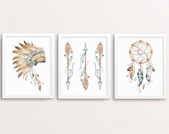 Tribal Print Set, Boho Printable Set, Tribal Nursery, Arrows Print, Boho Printable, Boy Nursery Decor, Indian Decor, Tribal Wall Art