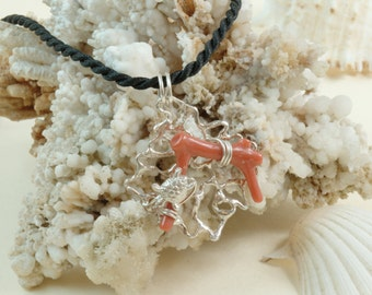 Sterling Silver 925 Worked with coral
