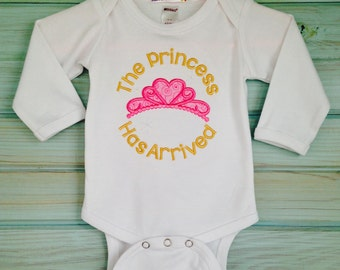 White long sleeve onesie with appliqued crown by Thats Sew Mimi