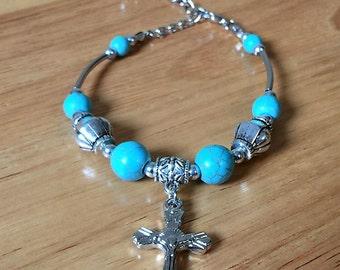 Turquoise Beads Bracelet/Cross/Special BOGO Sale