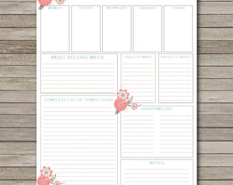 Weekly To Do List - INSTANT DOWNLOAD