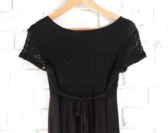 Vintage DAVID HOUSE Black Crochet Maxi Dress