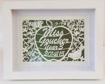 Thankyou Teacher - Original handcut personalised Papercut