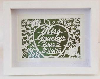 Thankyou Teacher - Original handcut framed bespoke Papercut