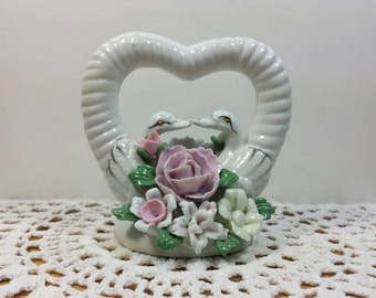 Vintage Figurine. Hand Painted White Heart & Two Love Birds. Pastel Bouquet of Flowers. Ceramic Knicknack.