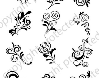 SVG File Digital Scroll SVG Files used for Vinyl cutting and Silhouette Cameo Software Fancy SVG Vector Scroll Files