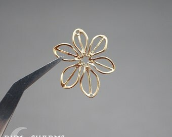 0501 - Pendant Connector, Matte Gold Plated, Small Petal Flower Double Hole Connector Charm Pendant, 2 Pieces