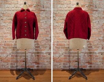 Carraig Donn Aran Fisherman Cardigan Sweater // Made in Ireland - Women's L