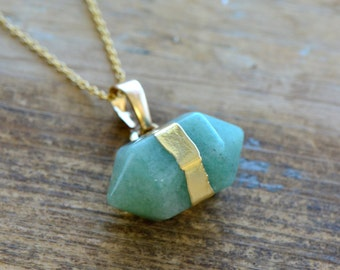 Double Point Green Aventurine Necklace - Pendant in 24K Plating w/ Stainless Steel Chain - Double Pencil Pointer Gemstone Jewelry  (S0--)