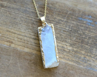 Square Column White Druzy Necklace - Agate Pendant w/ 24K Gold Edge Plating & Stainless Steel Chain - Gemstone Jewelry