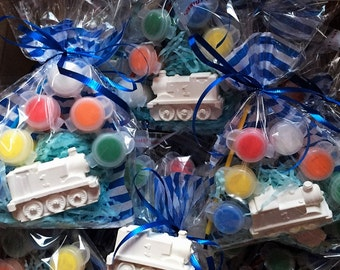 Thomas train party favors, train party favors,transport party favors, DIY,creative,educational.  Comes with paint and brush.