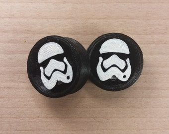 3D Star Wars Plugs Episode VII Stormtrooper Plugs Hand Painted 3d printed