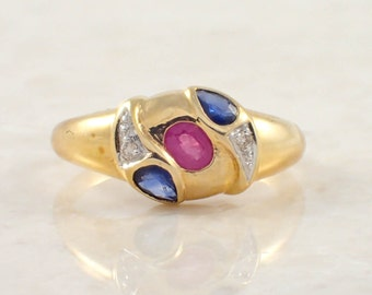 18K Yellow Gold Ruby, Sapphire and Diamond Ring