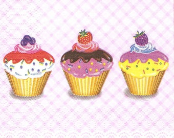 Cupcakes decoupage paper napkins, 4 small paper napkins, sweets decoupage napkin, paper crafts supply, collage and mix media serviette, g214