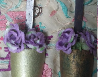 Pair of vintage wooden decorative shoe trees with lilac and white flowers shabby chic