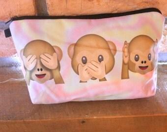 Monkey Emoji Holographic Print Fabric Make Up Bag / Cosmetics Pouch