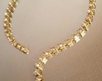 Rhinestone chain, Chain by the foot, Crystal Rhinestones, Swaovski Crystal, Brass chain