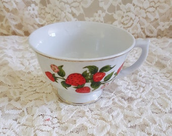 Strawberry Teacup with Gold Trim