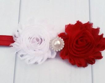 Red & White Canada Day Headband with Shabby Flowers and Bling, Canada Day Headband, Red and White Headband, Shabby Chic Canadian Headband