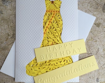 Handmade Evening gown dress card