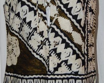 vintage Keone Hawaiian shirt, woman's hawaiian shirt, 60s 70s barkcloth shirt, Polynesian print, lace front top, sleeveless tunic