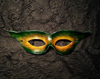 Handcrafted Yellow/Green Leather Mask - Forest