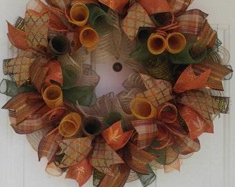 Fall wreath, Autumn wreath, thanksgiving wreath, fall door, fall decor, orange and brown wreath