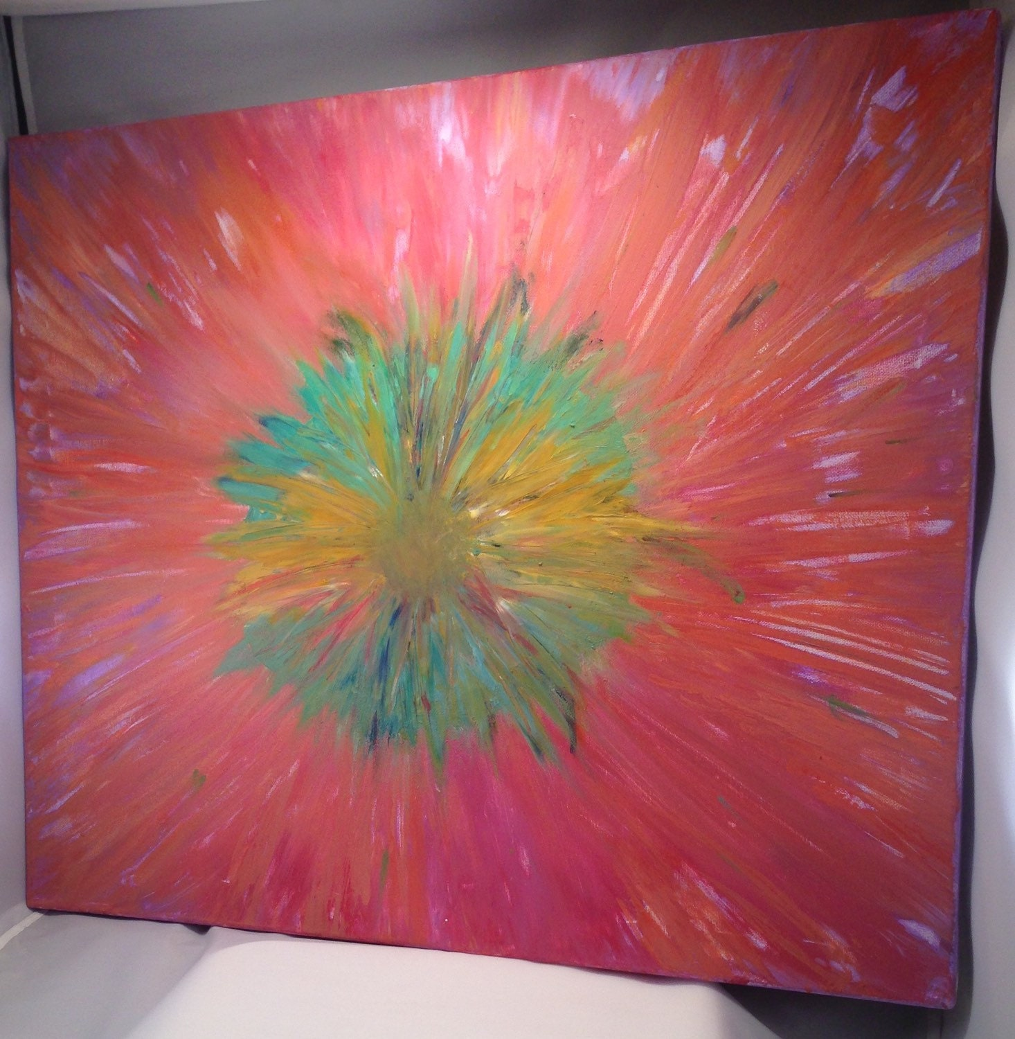 Abstract Flower Tye Dye Series No 1 24x20 Streched
